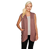 LOGO by Lori Goldstein Drape Front Knit Vest with Pockets - A255754