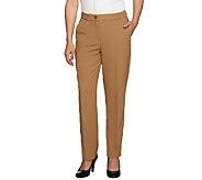 Susan Graver Petite Stretch Crepe Zip Front Pants - A258254