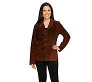 Dennis Basso Washable Suede Button Front Blazer with Front Pockets - A258454