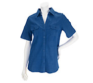 As Is Denim & Co. Stretch Denim Short Sleeve Camp Shirt - A260654