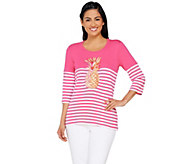 Quacker Factory Palm Beach Color Block 3/4 Sleeve Striped T-Shirt - A263554