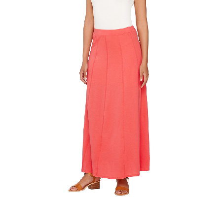 susan graver weekend cotton modal gored maxi skirt qvc