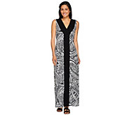 Denim & Co. Printed V-Neck Maxi Dress with Solid Front Panel - A266454