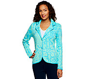 As Is Isaac Mizrahi Live! Floral Jacquard Sweater Blazer - A270754