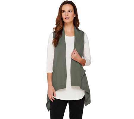 logo by lori goldstein cotton cashmere vest with angled pockets qvc com