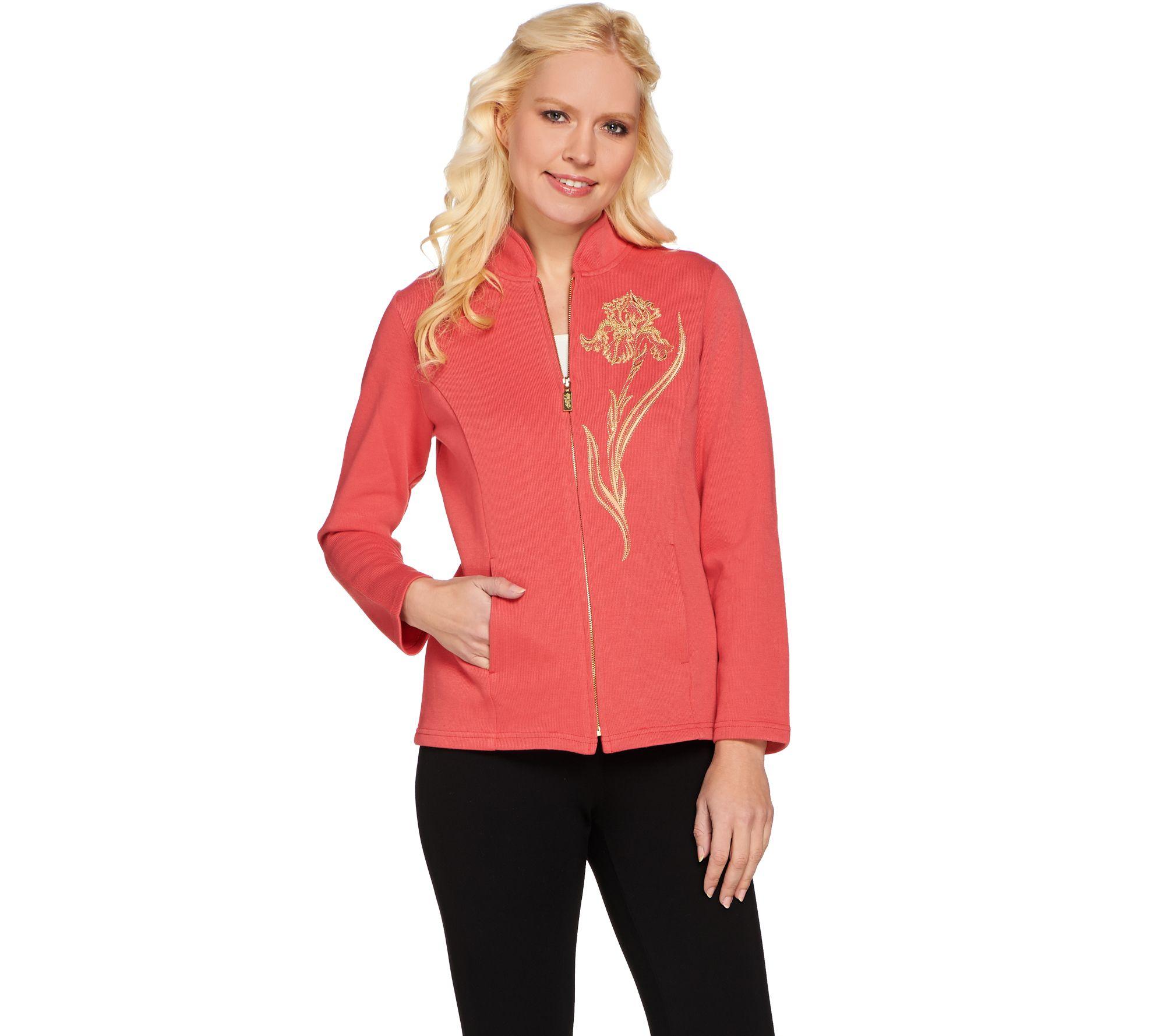 bob mackie u0026 39 s embroidered iris zip front jacket