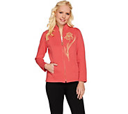 Bob Mackies Embroidered Iris Zip Front Jacket - A273154