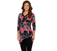 Susan Graver Printed Liquid Knit V-Neck Top w/ Asymmetric Hem