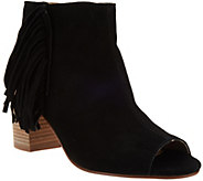 As Is Kensie Suede Open-toe Booties with Side Fringe - Erika - A275654
