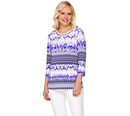 Susan Graver Artisan Embellished Printed Liquid Knit Top - A276454