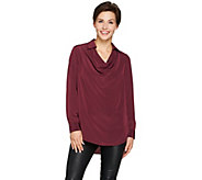Lisa Rinna Collection Collared Cowl Neck Blouse - A278954