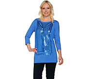 Bob Mackies Sequin Butterfly Front Knit Top - A279154