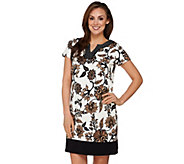 As Is Susan Graver Weekend Printed French Terry Short Sleeve Dress - A284754