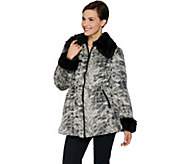 Dennis Basso Woven Zip Front Brushed Faux Fur Anorak Coat - A284854