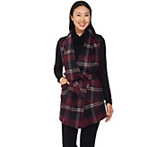 Lisa Rinna Collection Plaid Vest with Faux Leather Detail - A285554