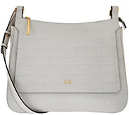 As Is H by Halston Croco Embossed Leather Saddle Crossbody Bag - A285854