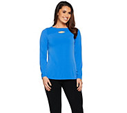 Susan Graver Liquid Knit Top with Crossover Keyhole - A286554