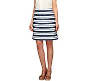 As Is Liz Claiborne New York Stripe Printed Pull-on Skort - A287454