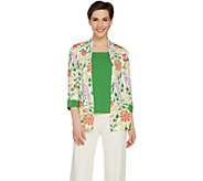 Bob Mackies Print Cardigan and Solid Knit Tank Set - A288454