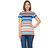 Isaac Mizrahi Live! Engineered Stripe Short Sleeve Tunic - A288654