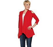 Susan Graver Liquid Knit Cold Shoulder Cardigan - A289154