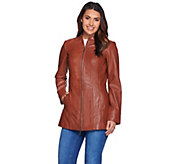 As Is Denim & Co. Lamb Leather Stand Collar Jacket w/Seam Details - A289354