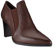 As Is H by Halston Leather Double Gore Stacked Heel Ankle Boots - A289854