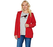 As Is Quacker Factory Fleece Jacket and Sequin Long Slv T-shirt Set - A289954