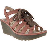 FLY London Leather Multi-strap Lace-up Wedges - Yito - A290154