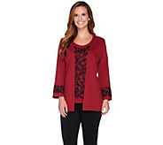 As Is Bob Mackies Ponte Embroidered Cardigan & Tank Twinset - A291054
