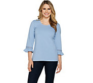 Denim & Co. 3/4 Sleeve Top with Ruffle Cuffs and Lace Trim - A291654