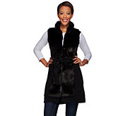 As Is H by Halston Faux Fur Sweater Vest with Self Belt - A292054