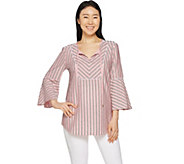Isaac Mizrahi Live! Striped Split Neck Tunic w/ Bell Sleeves - A292254