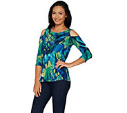 Susan Graver Printed Liquid Knit Cold Shoulder Scoop Neck Top - A294854