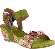 Spring Step LArtiste Leather and Fabric WedgeSandal - Laisis - A356654