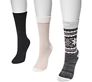 MUK LUKS Womens Three-Pair Pack Boot Socks - A361454
