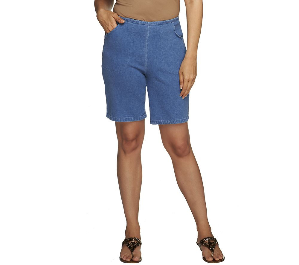 """Souvent Denim & Co. """"How Timeless"""" Stretch Pull-on Shorts w/Front Pockets  FD99"""