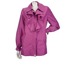 Dennis Basso Water Resistant Iridescent Jacket with Ruffle Front