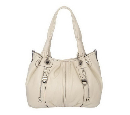 B. Makowsky Pebble Leather Large Tote Bag with Zipper Pockets