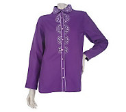 Bob Mackies Heart of My Heart Embroidered and Jeweled Shirt - A213855