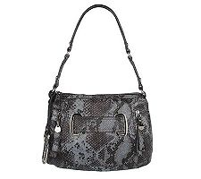 B. Makowsky Animal Embossed Leather Zip Top Shoulder Bag