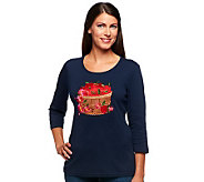 Quacker Factory 3/4 Sleeve Scoop Neck Harvest T-shirt - A217155