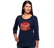 Quacker Factory 3/4 Sleeve Scoop Neck Harvest T-shirt - A217155