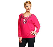 Kelly by Clinton Kelly Dolman Sleeve Top with Novelty Detail - A231455
