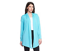 Linea by Louis DellOlio Feather Jersey Open Front Cardigan - A233955