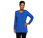 Denim & Co. Essentials French Terry V-Neck Tunic w/ Pockets - A238355