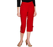 As Is Susan Graver Chelsea Stretch Capri Pants with Button Tabs - A239955