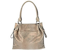 As Is B. Makowsky Sun Washed Croco Embossed Leather Tote - A240355