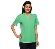 Denim & Co. Essentials Short Sleeve Mandarin Collar Knit Top - A253655