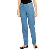 As Is Denim & Co. Tall How Smooth Straight Leg Pull-On-Jeans - A257155